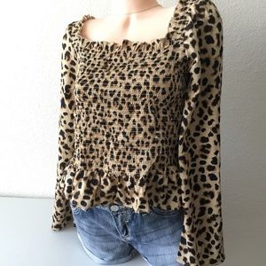 NWT EXPRESS Smocked Leopard Print Blouse